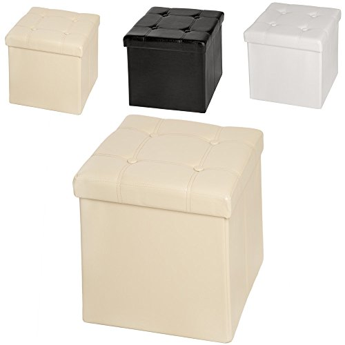 TecTake-38x38x38-cm-Faltbarer-Sitzhocker-Sitzwrfel-mit-Stauraum-Kunstleder-diverse-Farben-Beige-Nr-401474