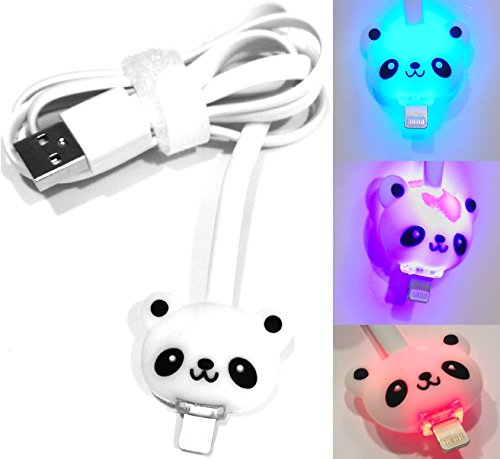 Josi Minea® Led Cartoon Figure Flat Tangle Free Light Up 8 Pin Premium Lightning Data Sync Charger Usb Cable With Blinking Colorful Rainbow Led Connectors For Apple Iphone 5 / 5S / 5C & Ipad With Retina Display / Air / Mini / Ipad 4 Ipod Touch In Retail P