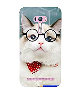 99Sublimation White Cat with Specs 3D Hard Polycarbonate Designer Back Case Cover for Asus Zenfone Selfie ZD551KL