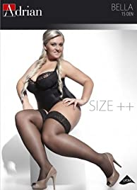 PLUS SIZE HOLD-UPS STOCKINGS BELLA NERO / BLACK 15 DEN size XL/XXL (5/6) by ADRIAN HOSIERY (BLACK ( NERO))