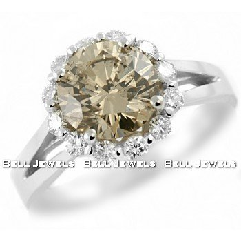 2.48ct Champagne Diamond Engagement Ring 14k
