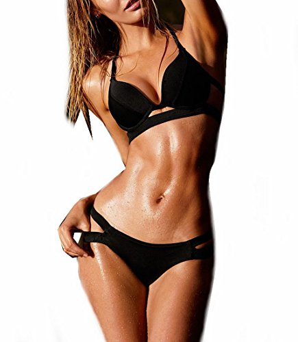 transformee-sexy-women-push-up-padded-halter-top-button-bra-two-pieces-bikini-s-black