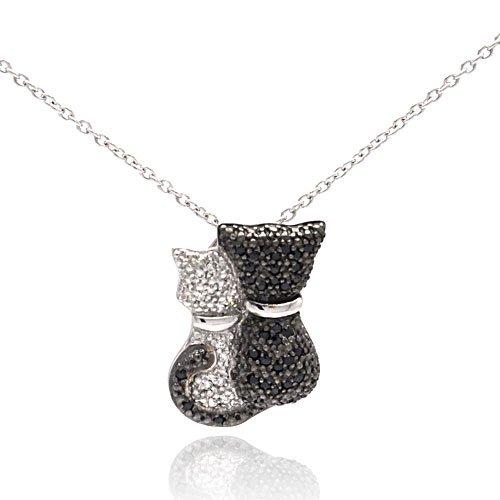 Black & White CZ Cats Hugging Sterling Silver Pendant