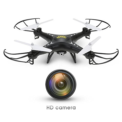 Holy Stone HS110W FPV Drone with 720P HD Live Video Wifi Camera 2.4GHz 4CH 6-Axis Gyro RC Quadcopter with Altitude Hold, Gravity Sensor and Headless Mode Function RTF, Color Black (White Live Range compare prices)