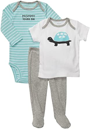 Carter's Baby Boys' 3 Pc Footed Set - Heather Turtle - Newborn