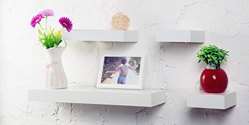 O & K Furniture 4-Piece White Multilength Floating Ledge Shelves