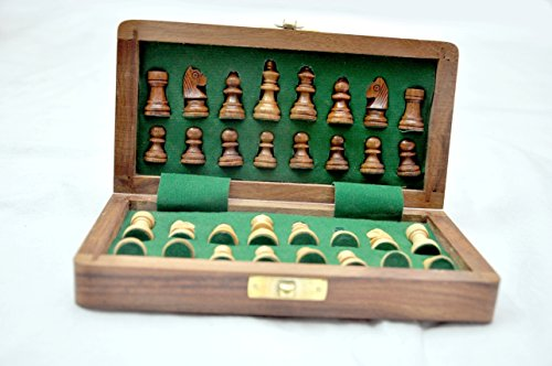 """Kimaro 7"""" Magnetic Form Fitting Folding Wooden Travel Chess Set - 7 in x 7 in - With Wood Pieces in Case - Handmade 4"""