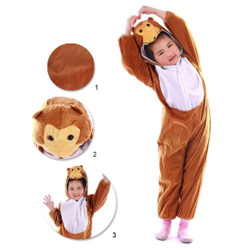 Meilaier Monkey Halloween Costume Pajamas Kids Cosplay Hoodie Animal Anime Onesie