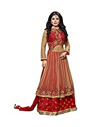 Sk Creation Rimi Sen Beige And Red Neck Embroidered Semi Stitched Floor Length Anarkali Suit With Designer Back