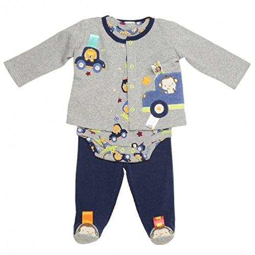 Taggies Baby Boy 3 Piece Animal Transportation Footed Pants Outfit by Taggies