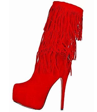 High Heels Stiefel im Italy Design, mit Plateau, Fransen, 16 cm Stiletto Absatz, rot, Gr. 38