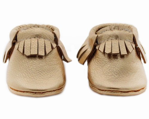 Baby Moccasins, The Coral Pear Classic Moccasin, Genuine Leather, Gold, Size 6.5M (Infant, Toddler, Kids) front-315536