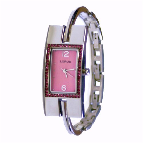 Lorus Ladies Bangle Watch with Pink Rhinestone and Pink Dial LR3020