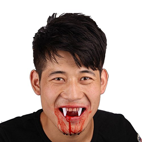 [Beautylife88 #0285 Halloween Vamp Teeth with Bloody Fangs Costume Cosplay Tooth #1] (Retractable Vampire Fangs)