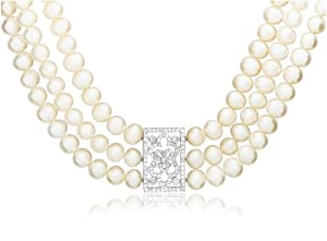 Triple-Strand Freshwater Cultured Pearl Necklace with Sterling Silver Filigree Cubic Zirconia Center, 15.25""