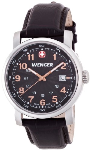 Wenger - 01.1041.104 - Montre Homme - Quartz Analogique - Aiguilles lumineuses - Bracelet Cuir Noir