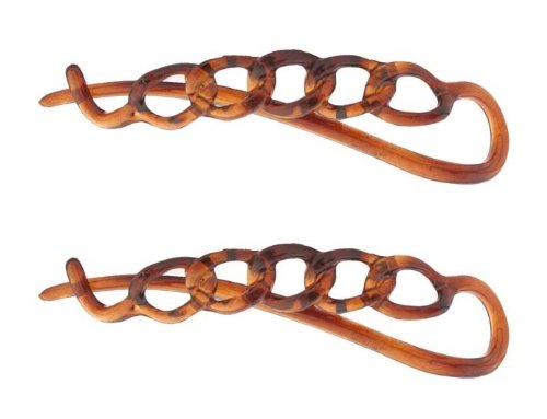 Caravan Non Metal Chain Slide Barrettes Made Of Celluloid Acetate In Tortoise Shell Pair