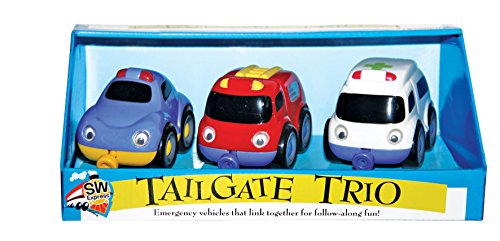 Small World Toys Preschool -Magnetic Tailgate Trio - Emergency Vehicles