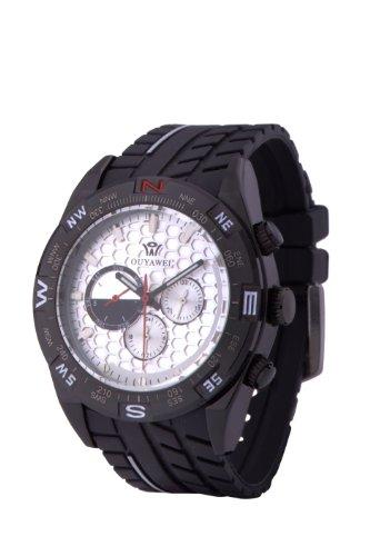 Ouyawei Men'S Unique Fashion Sport Rubber Strap White Dial Black Case Automatic Mechanical Wrist Watches