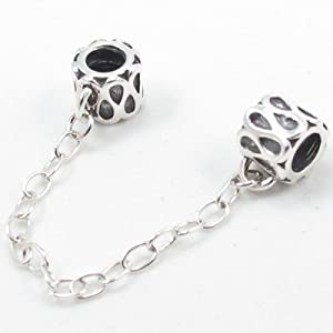 Sterling Silver Safety Chain Stopper Beads Are Compatible with Pandora Bracelets and Necklaces
