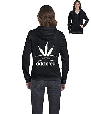 Artix A+ Addicted White Leaf Women Full-Zip Hoodie Weed Related Sweatshirts