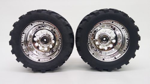 IMEX 1/5 Scale J-7 Baja Mounted Jumbo Tire Set with Chrome Beadlock Rims (One Pair of Tires & Rims) (Imex Tires compare prices)