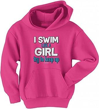 Amazon.com: Threadrock Big Girls' I Swim like a Girl Try