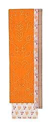Bandhej Mart Women's Cotton Salwar Suit Material (Orange and White)