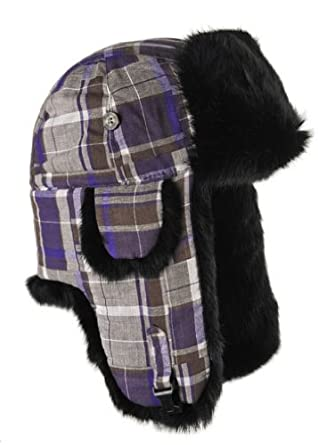 Mad Bomber Patchwork Flannel Bomber Hat with Real Fur, Purple/Brown patchwork with Black Fur, Small