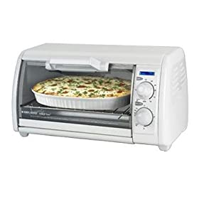 New Applica 4 Slice Toaster Oven White Swing-Open Crumb Tray For Easy Disposal And Cleaning