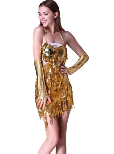 Feimei Women's Flash Sequins Tassel Latin Dance Dress with 2pcs Sleeves