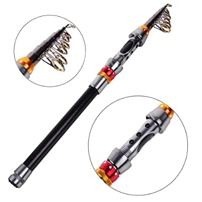 Enjoydeal Portable Carbon Fiber Telescopic Fishing Rod Travel Spinning Fishing Pole from Enjoydeal