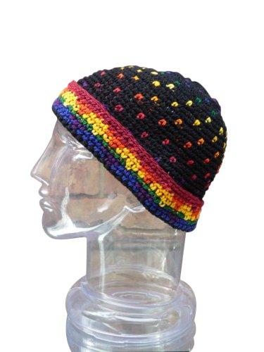 Hand Made Cotton Fold Up Brim Hat,Rainbow Toboggan Warm Winter Ski Cap front-497540