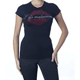 I Do Makeovers T-Shirt (Rhinestones) Black