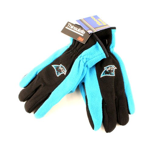 NFL Carolina Panthers Fleece Thinsulate Two Tone Embroidered Gloves (824150404163)