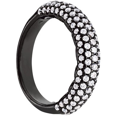 Sterling Silver 5 Row Cubic Zirconia Anniversary Band Black Rhodium Overlay