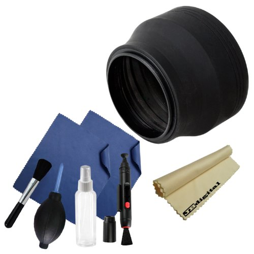 67Mm Rubber Lens Hood For Camera Lens With 67Mm Filter Thread + Professional Cleaning Kit (High Quality Lens Brush, Air Blower Cleaner, Handy Empty Spray Bottle, Lens Cleaning Pen , 3 Premium Jb Digital Microfiber Cleaning Cloths) front-197055