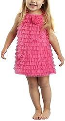 Mud Pie Baby-girls Newborn Chiffon Ruffle Dress, Hot Pink, 9-12 Months