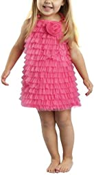 Mud Pie Baby Girls\' Chiffon Ruffle Dress, Hot Pink, 12-18 Months
