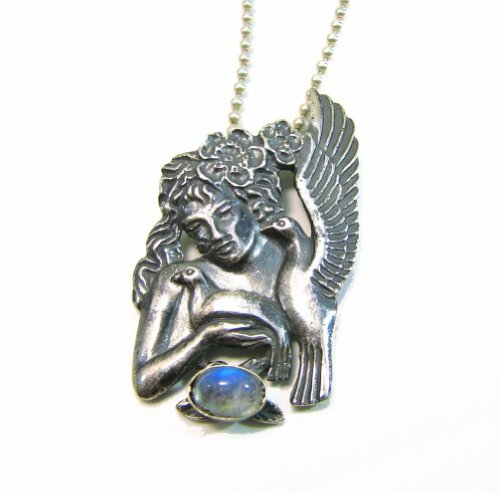 Sterling Silver Goddess Nymph with Turtle Doves and Moonstone Pendant