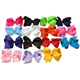 Large Boutique 5.5in Hair Bows for Teens Women & Toddlers Girls 15pcs ⌘Grosgrain Ribbon with Alligator Clips
