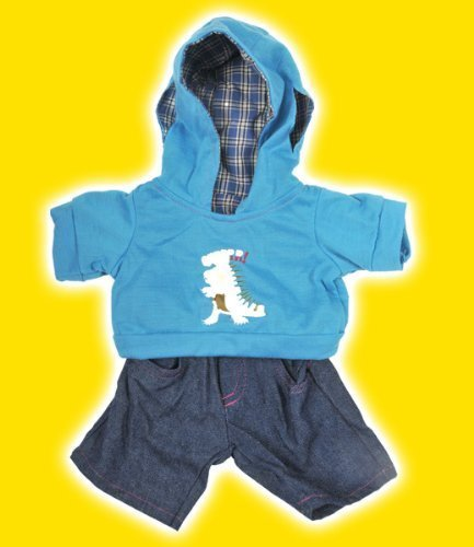 Dinosaur Hoodie W/Jeans Teddy Bear Clothes Outfit Fits Most 14 - 18 Build-A-Bear, Vermont Teddy Bears, And Make Your Own Stuffed Animals By Stuffems Toy Shop