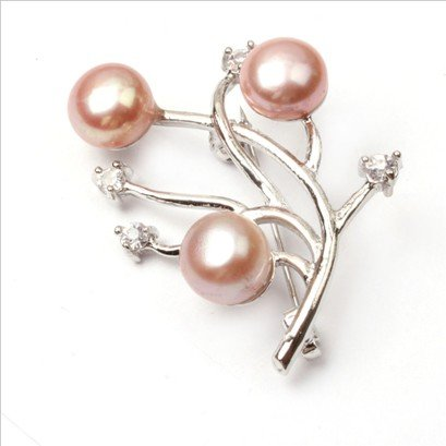 purple freshwater pearl white gold plated brooch pin 30x35mm