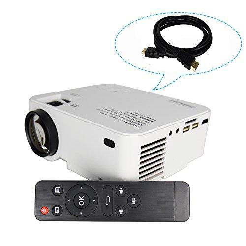 Touyinger ミニLCDプロジェクター 1500lm/1080P/日本語説明書 (USB/SD/HDMI/VGA)リモコン付き AC3 IR*2 ホームシアター 低いノイズ HDMIケーブル(1.5M)付き ホワイト