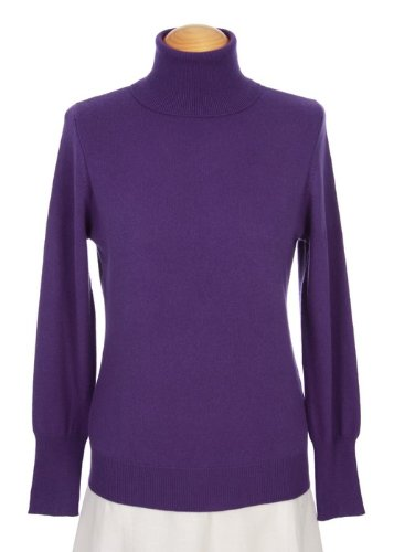 Shephe 4 Ply Womens Turtleneck Cashmere Sweater Purple (Small)