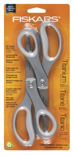 Best Buy! Fiskars 8 Inch Everyday Titanium Scissors, 2 pack