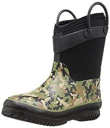 Western Chief Boys\' Neoprene Snow Boot, Olive Camo, 2/3 M US Little Kid
