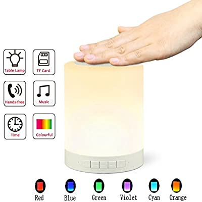 R Mao-LED Wireless Bluetooth 4.0 Speaker with Smart Touch Sensor Bedside Table Lamp Music Player, Muisc Player / Hands-free/ TF Card Supported,Seven Colorful Lights Night Light for Kids