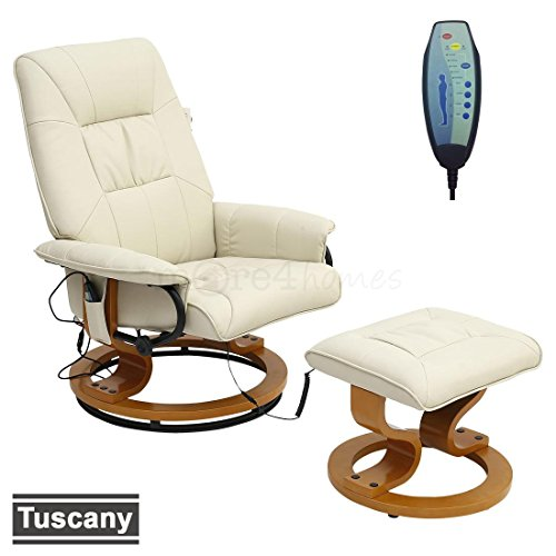 TUSCANY LEATHER SWIVEL RECLINER MASSAGE CHAIR w FOOT STOOL ARMCHAIR 8 MOTOR MASSAGE UNIT BUILT IN (Cream)