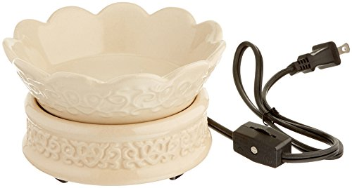 Candle Warmers Etc. Ceramic Candle Warmer and Dish, Cream Embossed (Electric Candle Warmer And Dish compare prices)